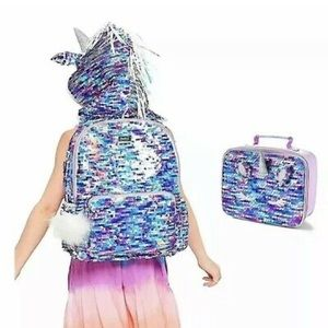 Justice unicorn hooded flip-sequin backpack&lunch